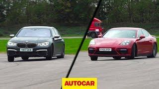 BMW M760Li vs Porsche Panamera Turbo | Drag race, drifted, driven on road | Autocar