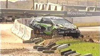 Michael de Keersmaecker rolls rallycross car at Lousada 2005