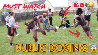 "PUT ON THE GLOVES ""PUBLIC BOXING"" K.O.'S EVERYWHERE!! LITTLE KIDS EVEN SCRAP!!"