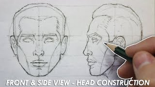 The Basic CONSTRUCTION for DRAWING the HEAD - Front & Side View - Narrated Tutorial