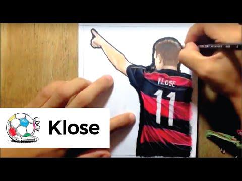 Dibujo de Miroslav Klose después de convertirse en el máximo goleador en mundiales.