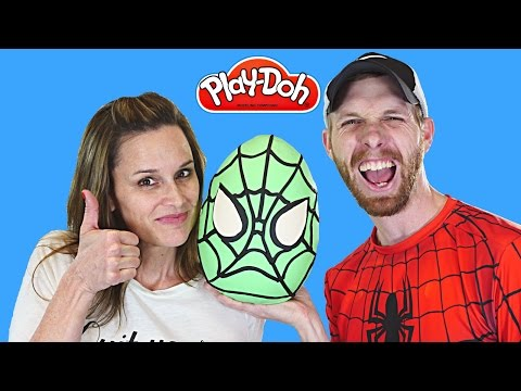 MEGA Surprise Egg Play Doh Spider-Man ★ TMNT Kinder LEGO Barbie Batman Superhero Eggs