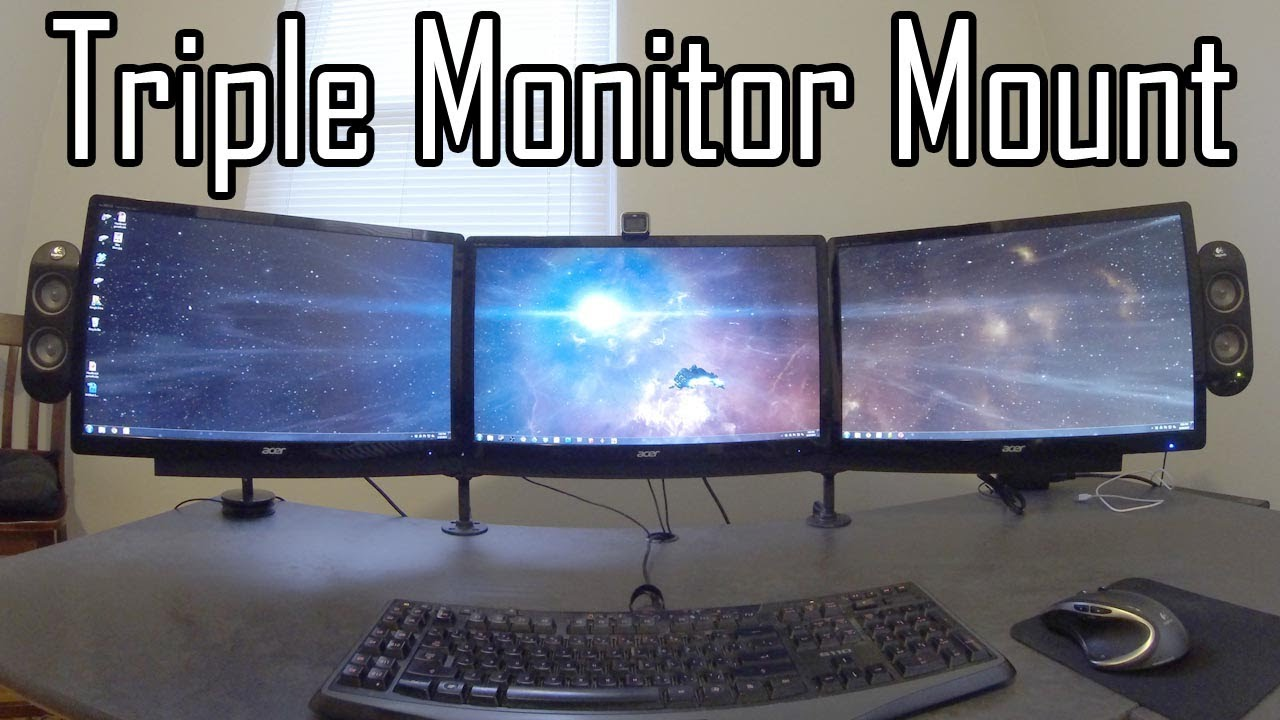 Triple Monitor Mount Diy Youtube