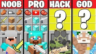 Minecraft Battle: ZOMBIE APOCALYPSE CRAFTING CHALLENGE - NOOB vs PRO vs HACKER vs GOD ~ Animation