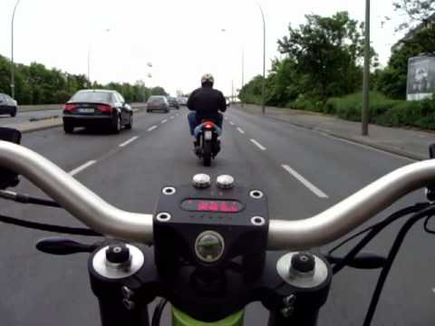 eROCKIT riding the traffic of BERLIN at 50mph, finish ride at production site in Marzahn