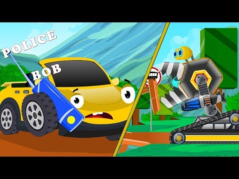 Crusher Machine vs Bob the Police Car Chase | Cartoon Songs & Rhymes for kids