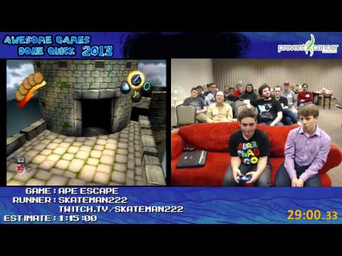 Ape Escape - SPEED RUN in 53:45.15 by skateman222 (Awesome Games Done Quick 2013) PS1