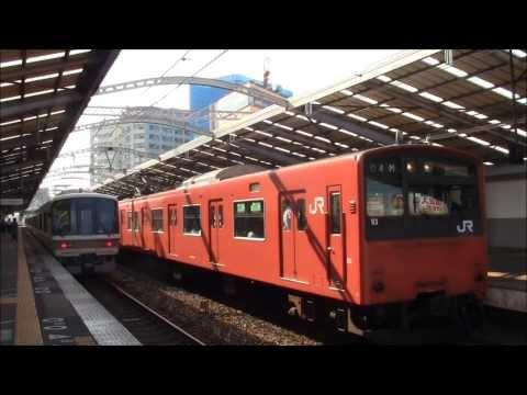 【JR西日本】 大阪環状線大正駅を発着する電車(朝ラッシュ時)2013.8.14