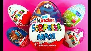 Surprise Eggs UNBOXING Toys! Kinder Smurfs Peppa Pig Huevos Sorpresa