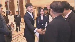 張靚穎隨中國文藝代表團抵朝首天行程(朝鮮中央電視台)
