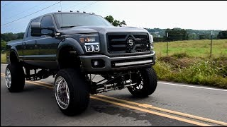 Straight piped 6.7 Powerstroke on 24x16s