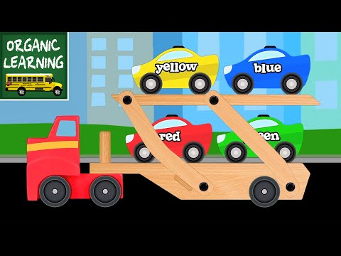 Big Rig Car Carrier Teaching Colors - Learning Colours Video For Children