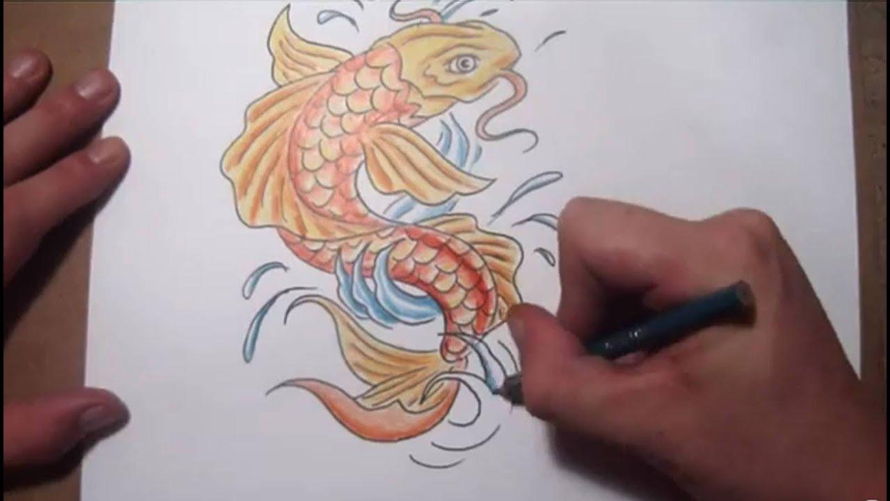 Koi Fish Dragon Drawing Color How to Draw a Koi Fish Tattoo