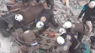 Girl Rescued from Rubble in Syrian Town