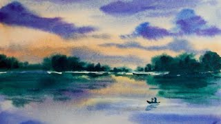 Watercolor Sunset Reflection Demonstration