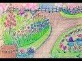 Vẽ tranh vườn hoa nhà em/ Vẽ vườn hoa xuân đơn giãn/How to draw flower garden