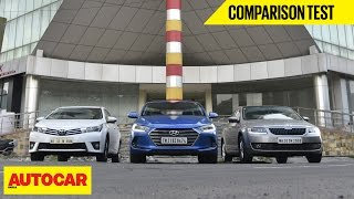 Hyundai Elantra VS Toyota Corolla Altis VS Skoda Octavia | Comparison Test | Autocar India
