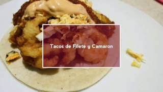 Tacos de filete y camaron