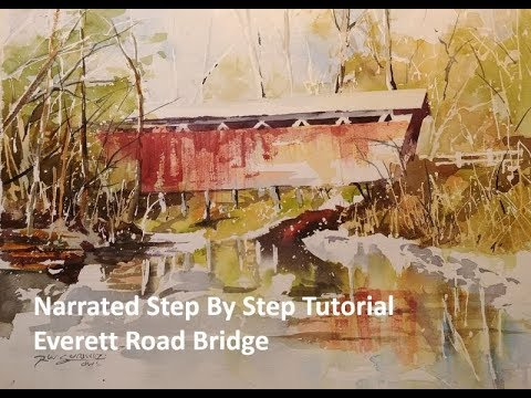 Transparent Watercolor Narrated Step By Step Tutorial Everett Road Bridge