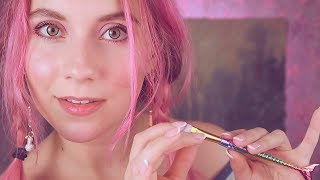 ASMR  - Ear & FACE BRUSHING - I will make you melt .. EAR to EAR WHISPER Close up + breathing sounds