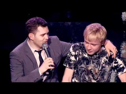 Michael Buble sings with fan