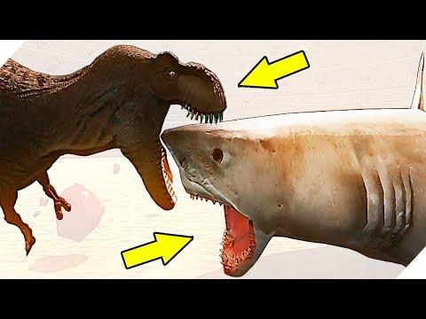 ОГРОМНАЯ АКУЛА МЕГАЛОДОН против ДИНОЗАВРОВ - Игра Beast Battle Simulator. Битва динозавров.