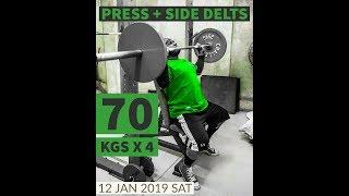 Seated Overhead Press 70 kgs x 4 reps   #overheadpress #powerbuilding #bodybuilding