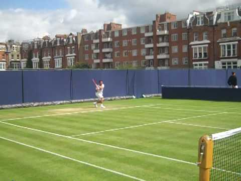 Out and about on the practice courts at Queen's on Day 1.