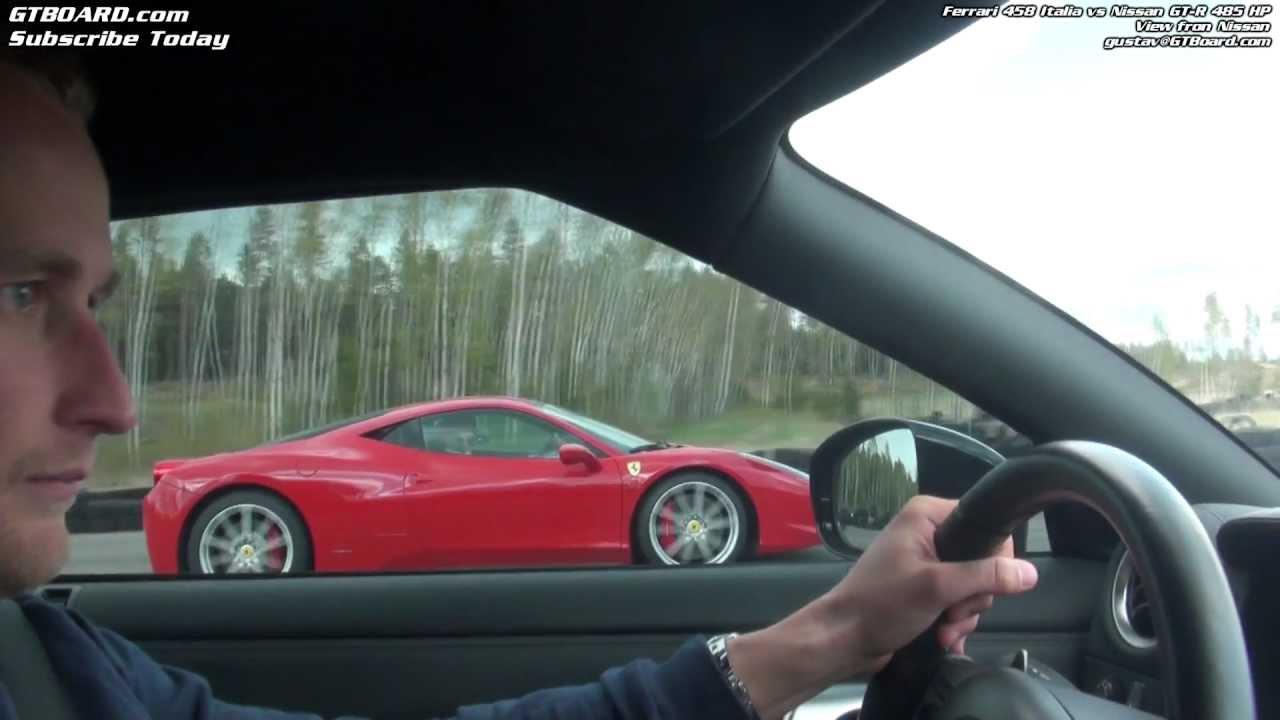 Ferrari 458 Italia vs Nissan GTR 485 HP - YouTube