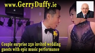 Couple surprise 250 invited wedding guests with epic music performance