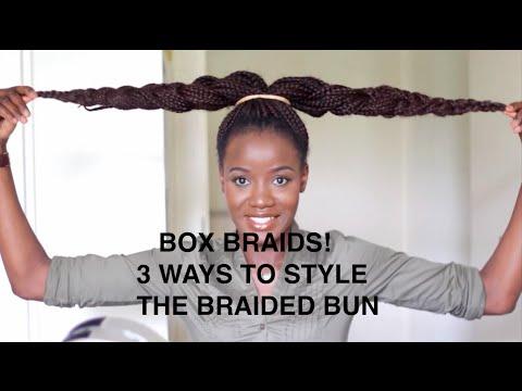 BOX BRAIDS   3 WAYS I STYLE MY BRAIDED BUN