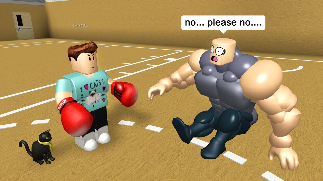BEATING UP MY GYM BULLY IN ROBLOX