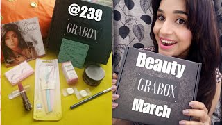 *GIVEAWAY OPEN | GRABOX March 2018 | Beauty Box @ 239 | 7 Full Size products | Unboxing & Review