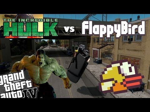 GTA 4 Flappy Bird Mod + Hulk Mod - Flappy Bird vs Hulk