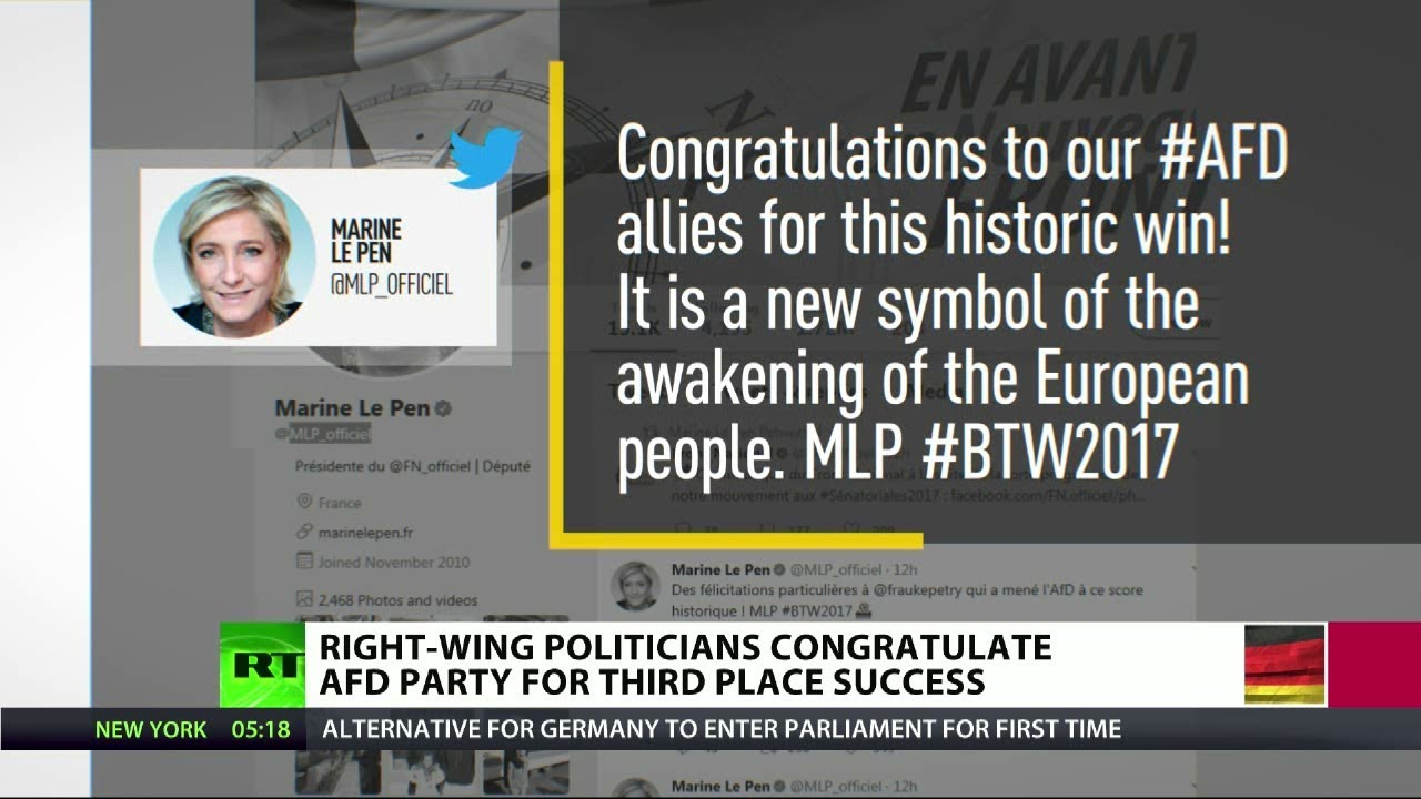 Europe's right wing leaders congratulate AfD