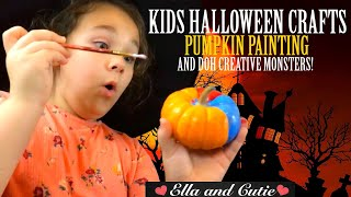 Pumpkin Painting Craft Halloween Party Ideas (Ella and Cutie Little Witches)