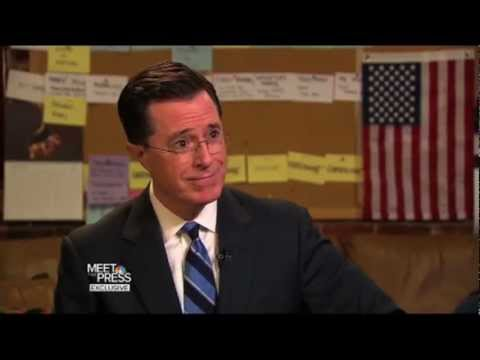 Stephen Colbert on Meet The Press (In and Out of Character)