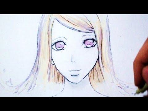 Drawing Time Lapse: Face manga Girl (fantasy hair)