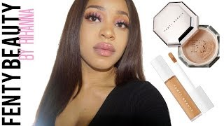 TRYING NEW FENTY BEAUTY CONCEALER + SETTING POWDER