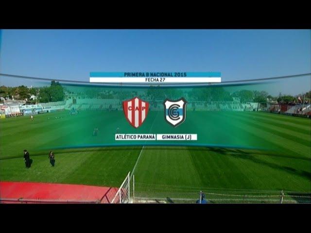 Fútbol en vivo. Atl. Paraná - Gimansia (J). Fecha 27 del torneo de Primera B Nacional.