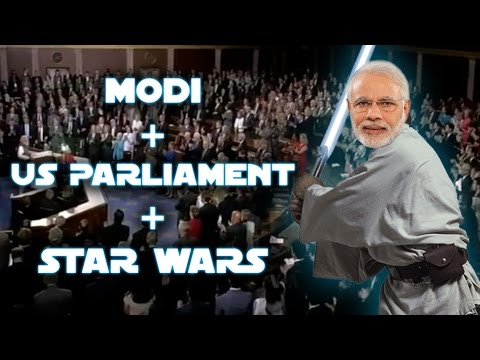PM Narendra Modi US Parliament Star Wars Entrance and Speech