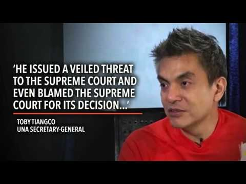 UNA's Tiangco: Aquino thinks he is the law