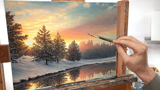 "A Snowy Winter Landscape Painting | ""One Quiet Morning"""