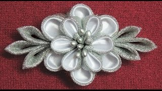 DIY kanzashi flower hairclip,Winter inspired kanzashi,Wedding accessoire