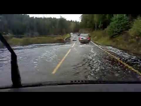 Powódź w lesie i na drodze - Norwegia.