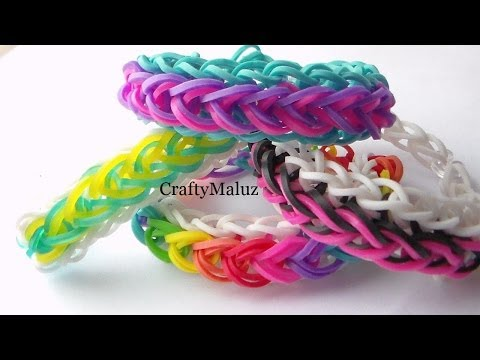 Como Hacer Pulsera de Gomitas Gotas De lluvia / How to make the rainbow loom Raindrop bracelet