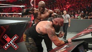 Lashley smothers Strowman with the announce table: WWE Extreme Rules 2019 (WWE Network Exclusive)
