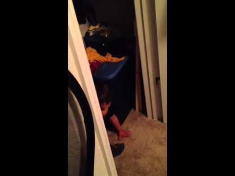 Cayden pooping in closet