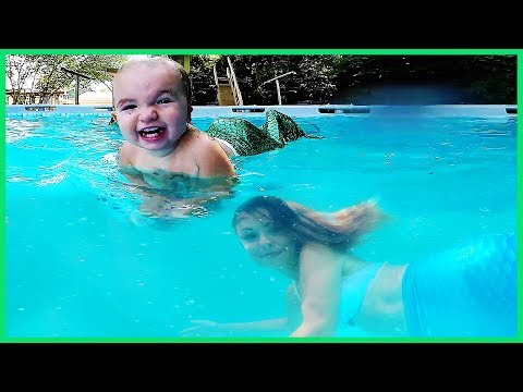 BABY AND MOMMY MERMAID IN SWIMMING POOL! thumbnail