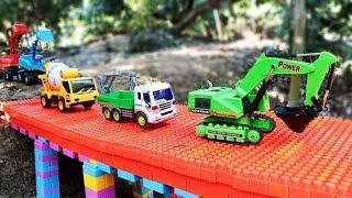 Build Bridge Blocks Toys   Excavator , Truck , Cement Mixer Truck  Construction vehicles